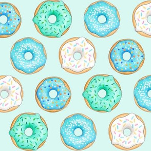 Iced Donuts Blue on light mint - 2 inch donuts