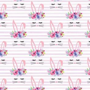 Small bunny face purple stripe
