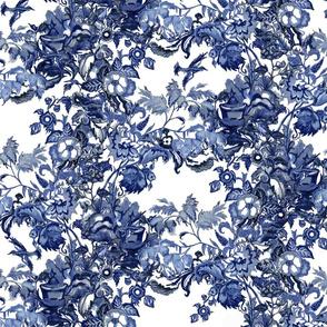 Blue Delft Blooms & Birds
