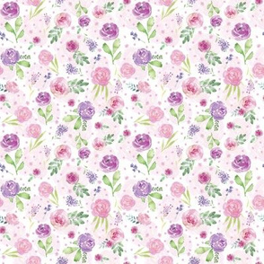 SMALL Lavender and Pink Watercolor Pastel Floral