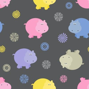 Plump Hippos Toss in Bright Pastels