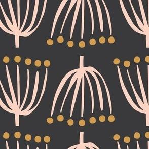 Spindly Seedlings Lg   Black + Peachy Pink
