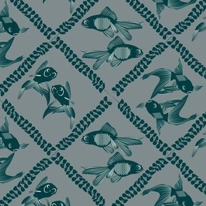 Two Fish Dance Damask  dark teal green