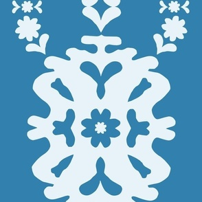 Denim Blue and Pale Blue Modern Papercut Medallion - jumbo scale for wallpaper, home décor and soft furnishings