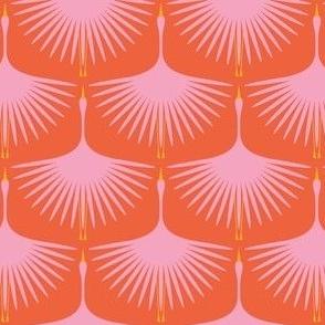 """Art Deco Swans - Pink on Red/Orange (2.5"""" wingspan)"""