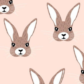 Baby rabbit illustration spring and easter animals hare  bunny design pastel beige blush brown neutral nursery