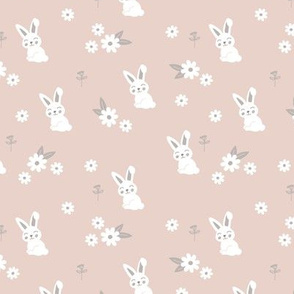 Little kawaii boho bunny garden sweet rabbit lovers blossom and hare design kids soft sand beige SMALL