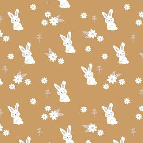 Little kawaii boho bunny garden sweet rabbit lovers blossom and hare design kids cinnamon ochre gray white neutral SMALL
