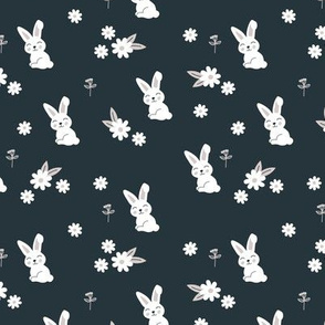 Little kawaii boho bunny garden sweet rabbit lovers blossom and hare design kids charcoal gray neutral SMALL