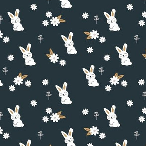 Little kawaii boho bunny garden sweet rabbit lovers blossom and hare design kids charcoal cinnamon ochre neutral SMALL