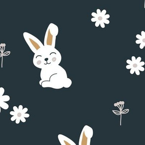 Little kawaii boho bunny garden sweet rabbit lovers blossom and hare design kids charcoal cinnamon ochre neutral LARGE