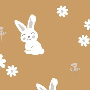 Little kawaii boho bunny garden sweet rabbit lovers blossom and hare design kids cinnamon ochre gray white neutral LARGE