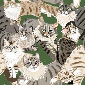 Cats Paradise Pattern Green