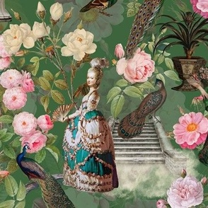 Marie Antoinette in her French Flower Redouté Roses Garden  - green
