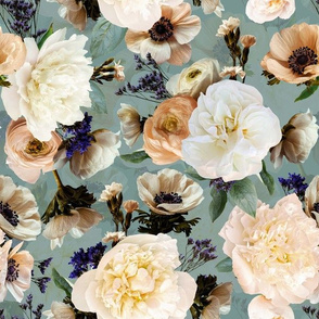 """12"""" Bunch of Spring Peonies Roses And Anemones - teal sepia - double layer"""