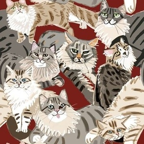Cats Paradise Pattern Red Big Scale