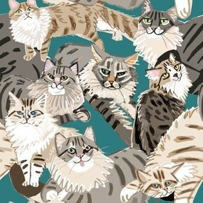 Cats Paradise Pattern Teal