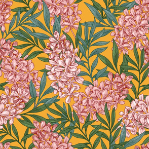 Wild flowers on the yellow background