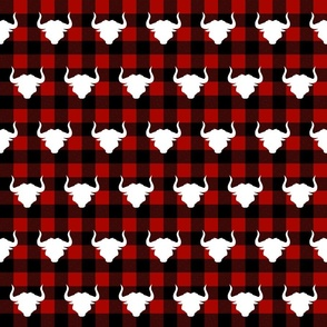 Ox head on Red and black Buffalo plaid