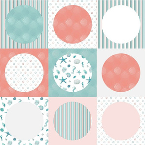 Coral and aqua circle in square patchwork