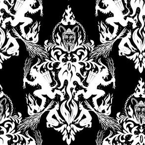 Krampus Damask on Black