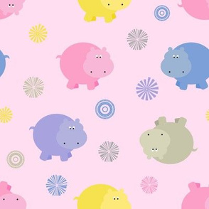 Plump Hippos Toss in Bright Pastels on Pink