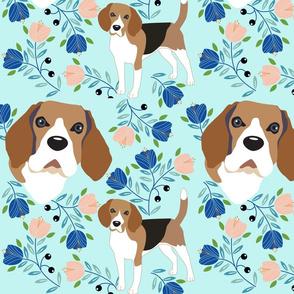 Beagle dog and tulip flowers