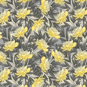 Peony Watercolor Floral Pattern_Yellow Gray