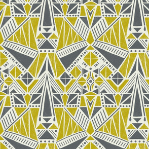 Geometric Windmill - Grey Yellow - Regular Scale