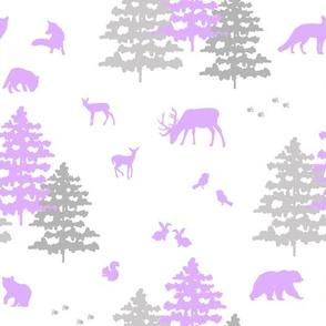 Purple Woodland Animals