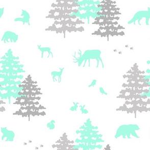 Woodland Animals Mint Green