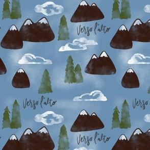 Verso l' alto mountains on blue