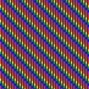 Miniature - Rainbow Revelry Stripes on Black and Grey