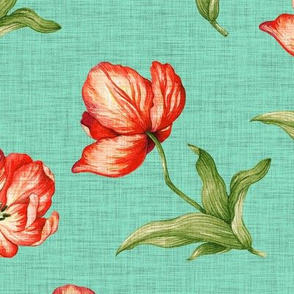 Linen Tulips - Teal Red