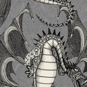 dragon damask gray large