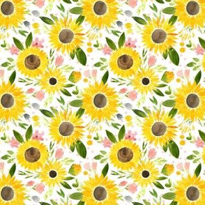 Sweet Sunflowers Field Watercolor Floral - Soft Blush Dots -Small