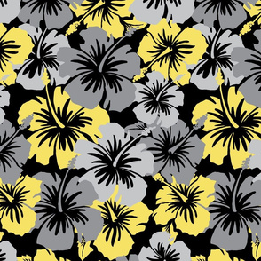 Oversized Hawaiian Hibiscus Floral- Yellow and Gray