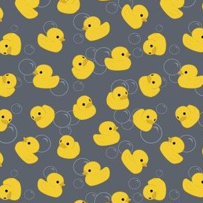 Yellow Rubber Duck on Grey