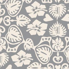 Hawaiian Monstera Leaf Damask - Ultimate Gray