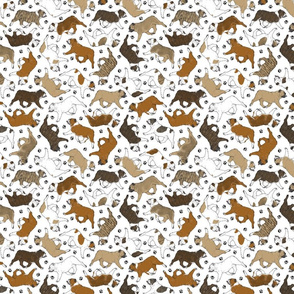 Tiny Trotting Bulldogs and paw prints - white