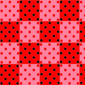 DOTTED CHECKS  RED PINK