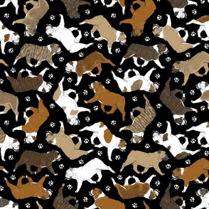 Trotting Bulldogs and paw prints - black