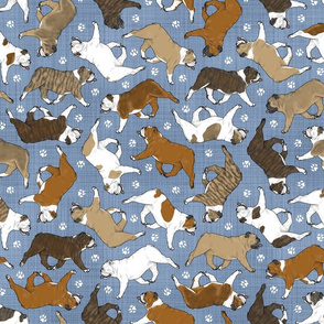 Trotting Bulldogs and paw prints - faux denim