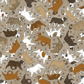 Trotting Bulldogs and paw prints - faux linen