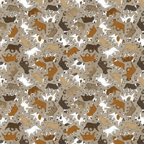 Tiny Trotting Bulldogs and paw prints - faux linen