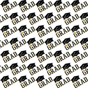Graduation Cap GRAD - Black | Gold Tone
