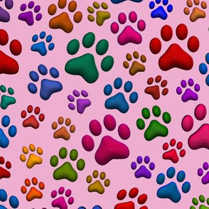 Colorful Cat Paws in 3D Pink