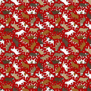 Tiny Trotting Bulldogs and paw prints - red