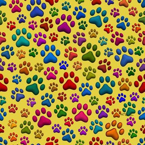 Colourful Cat Paws small on Yellow