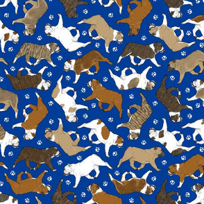 Trotting Bulldogs and paw prints - blue